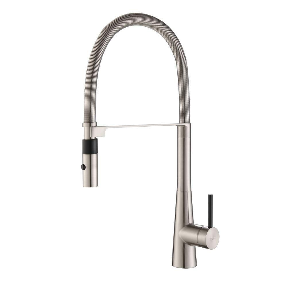 CrespoSingle Lever Commercial Style Kitchen Faucet W/ Flex Hose Stainless Steel