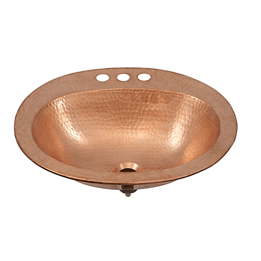 Kelvin 20-inch Drop-In Bathroom Sink with 4-inch Faucet Holes in Unfinished Naked Copper