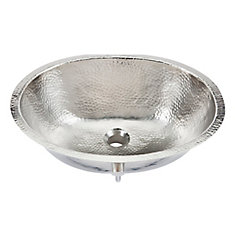 Pavlov 19 1/4-inch Oval Bathroom Sink in Hammered Nickel