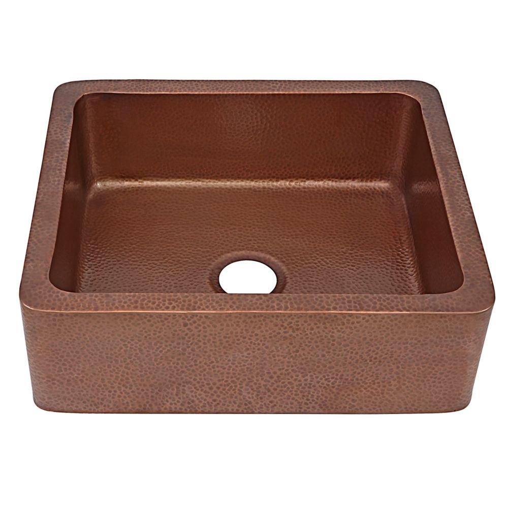 Monet Farmhouse 25 in evier a tablier d'avant un bac pour cuisine a cent pour cent pure cuivre