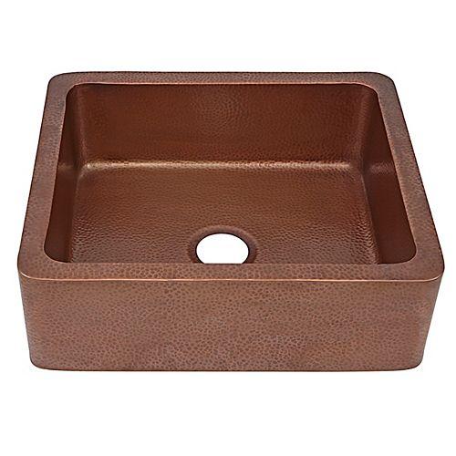 Sinkology Monet Farmhouse Apron Front Handmade Copper Kitchen Sink 25 in. Single Bowl in Antique Copper