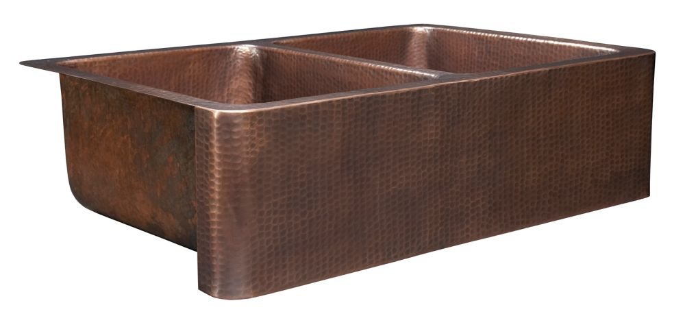 Farmhouse Sink Discount : Farmhouse Apron Front Handmade Solid Copper 33 in. Double Bowl Sink ...