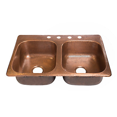 Raphael Drop In Handmade Pure Solid Copper 33 Inch 4 Hole Double Bowl Kitchen Sink Antique