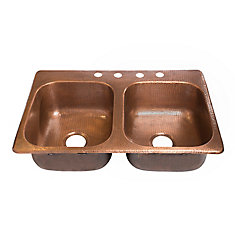 Raphael Drop-in Handmade Pure Solid Copper 33-inch 4-Hole Double Bowl Kitchen Sink in Antique Copper