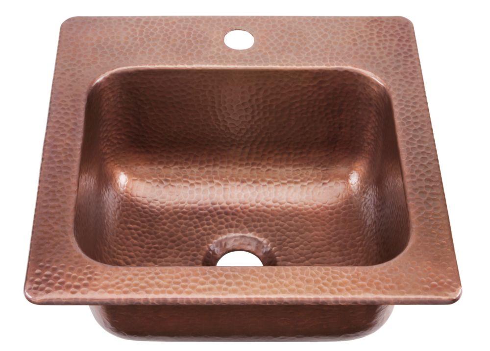 Seurat Drop In Handmade Pure Solid Copper 15 in. 1-Hole Bar Prep Copper Sink in Antique Copper