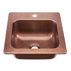 Seurat Drop In Handmade Pure Solid Copper 15 in. 1-Hole Bar Prep Copper Sink in Antique Copper