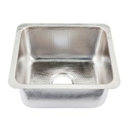 Sinkology Rembrant Undermount Handcrafted 17 in. 0-Hole Bar Prep Sink in Hammered Nickel