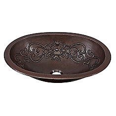 Pauling 19-inch Dual-Mount Handmade Solid Copper Bathroom Sink with Scroll Design