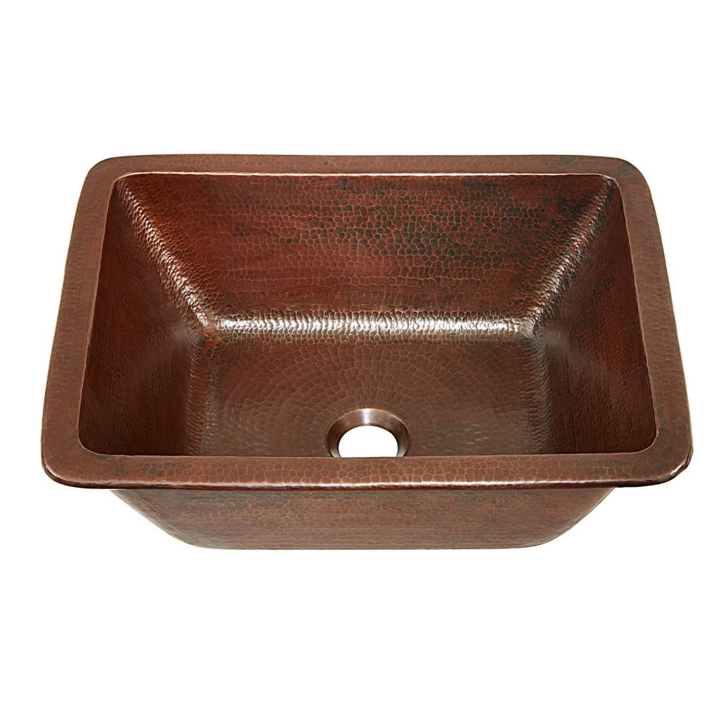 Hawking 17 in evier pour salle de bain est de fabrication artisanale fait avec du pur cuivre viel...