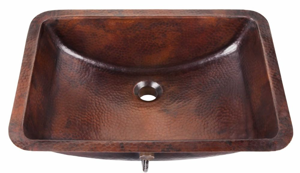 Curie 21-inch Undermount Pure Solid Copper Bath Sink with Overflow