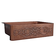 Ganku Farmhouse Apron Front Handmade Pure Copper 33 in. Single Bowl Kitchen Sink with Scroll Design
