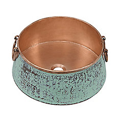 Noble 16-inch x 7.25-inch x 16-inch Circular Copper Bathroom Sink