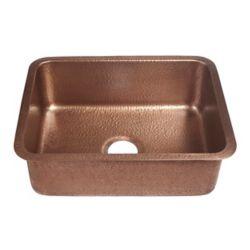 Sinkology Renoir.  23 in. 1 bac evier de cuisine a encastrer de fabrication artisanale en cuivre vielli.