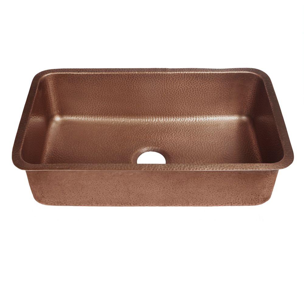 Orwell Undermount Handmade Solid Copper 30 in. Single Bowl Kitchen Sink in Antique Copper