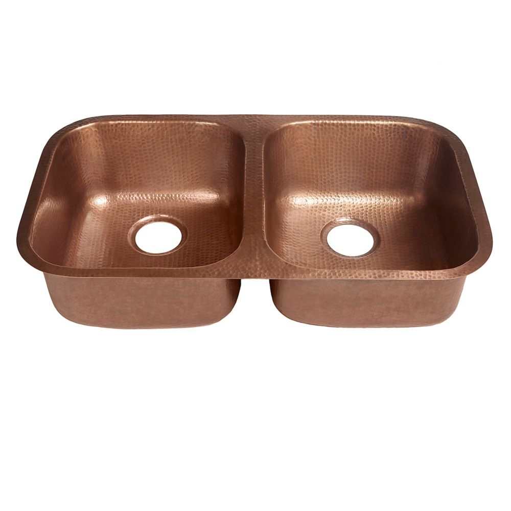 Kadinsky Undermount Handmade Pure Copper 32-1/4 in. Double Bowl Copper Sink in Antique Copper