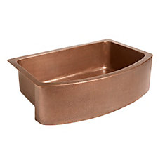 Ernst Farmhouse Apron Front Handmade Pure Copper 33 in. Single Bowl Copper Sink in Antique Copper