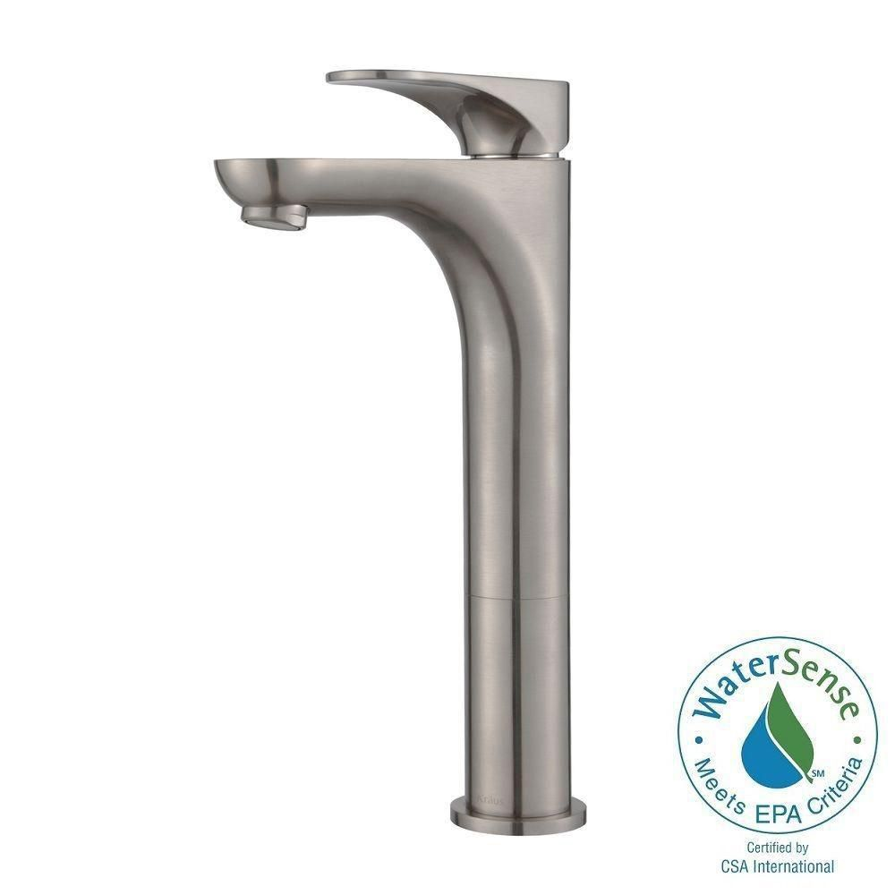 Aquila Single-Lever Vessel Bathroom Faucet in Brushed Nickel Finish
