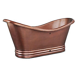 Sinkology Euclid 6 ft. Handmade Pure Solid Copper Freestanding Double Slipper Bathtub in Copper with Overflow