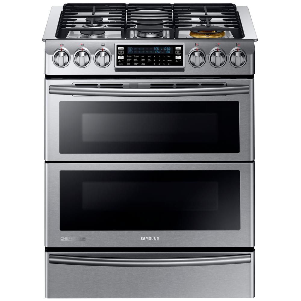 5.8 Cu.Feet Slide-in Dual Fuel Range with Flex Duo Oven, Dual Door - NY58J9850WS