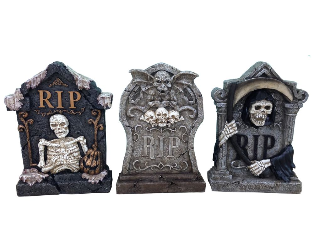 22 Inch Lighted Tombstone(Asst 3 Styles)