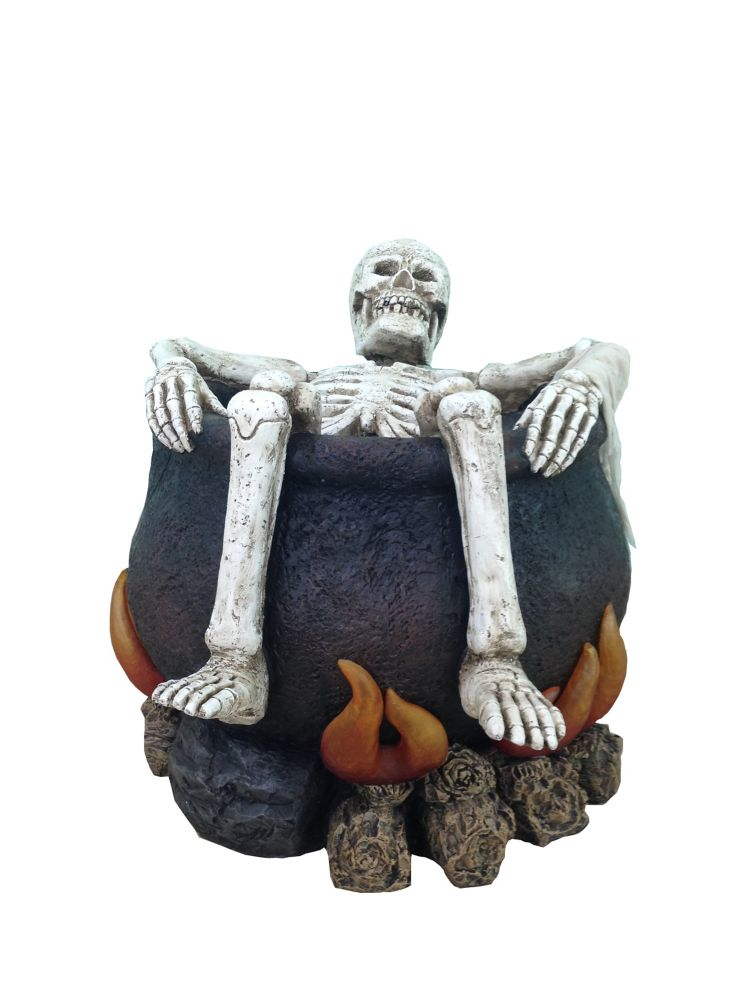 26 Inch Led Screaming Skeleton In Cauldron