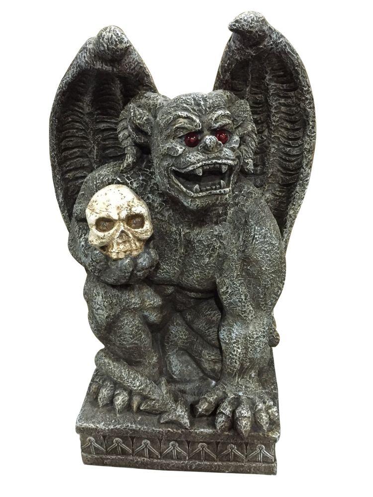 30 Inch Animated Gargoyle Holding Skull