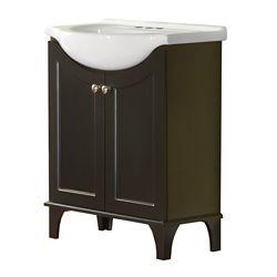 Magick Woods Concord 26-inch W 2-Door Freestanding Vanity in Dark chocolate With Ceramic Top in White