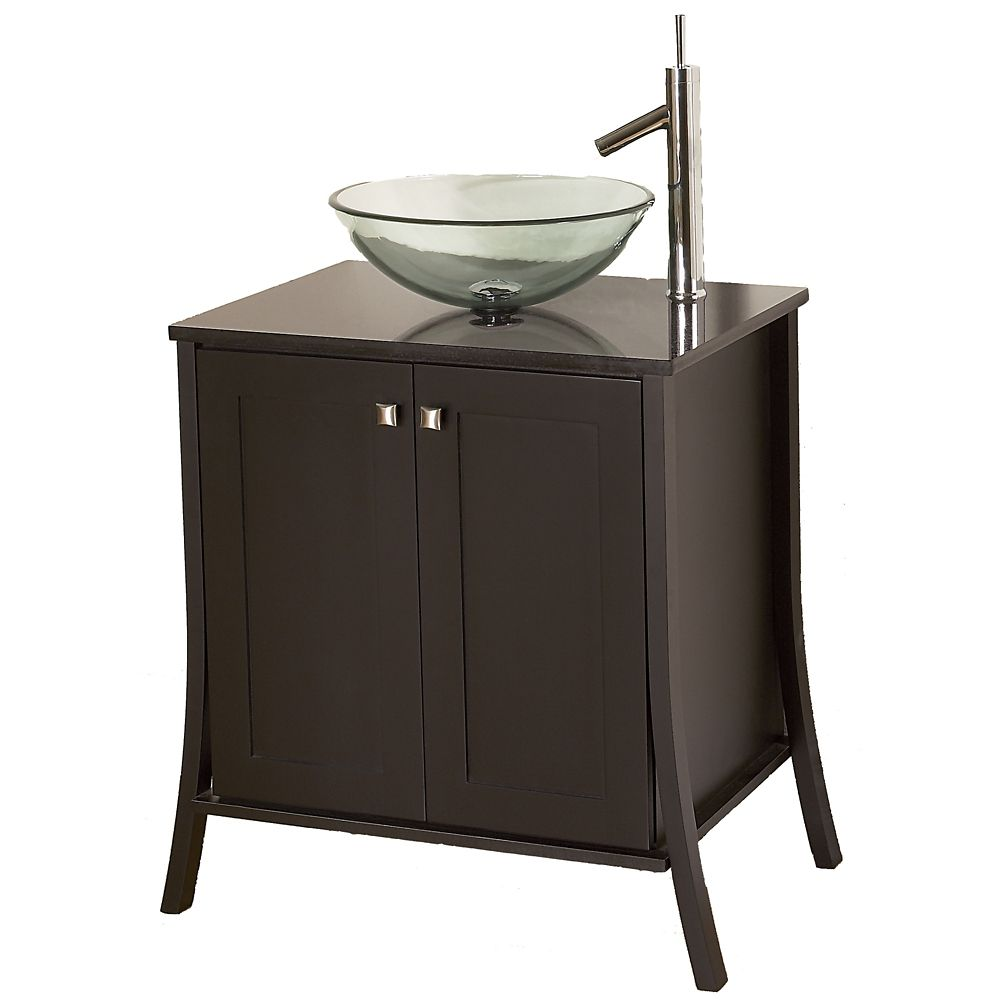 Continental 31-inch W Vanity Ensemble in Dark Chocolate Finish with Granite Top
