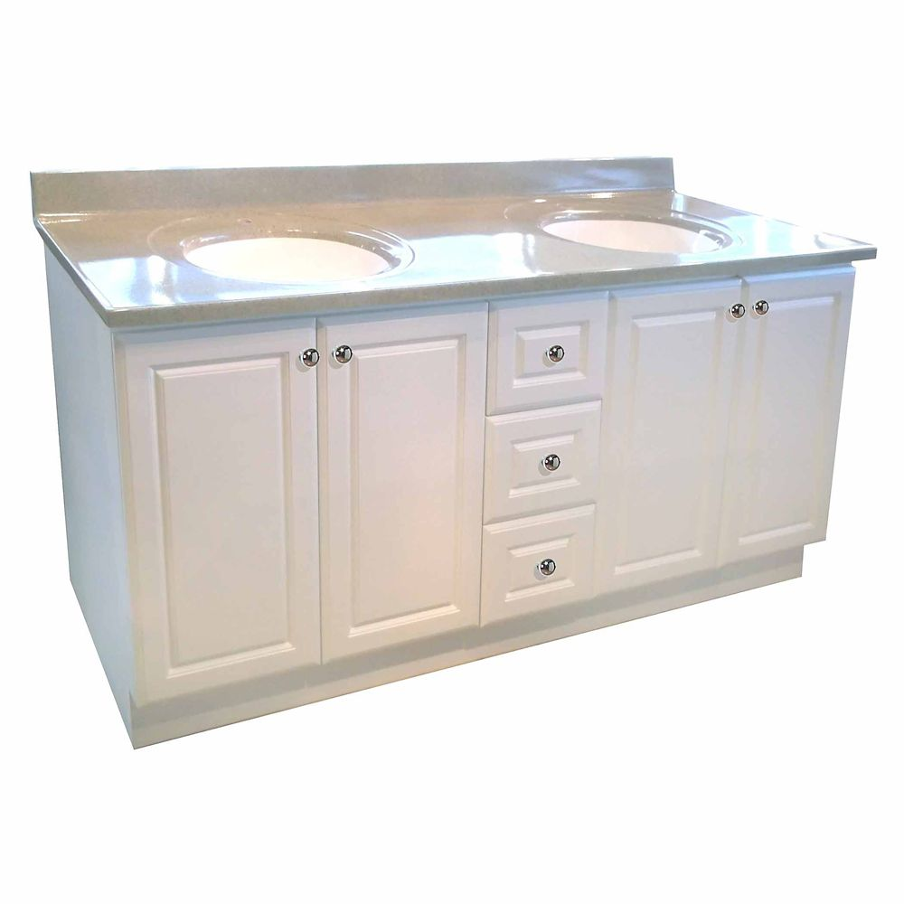 72-inch W Vanity Base in White Finish