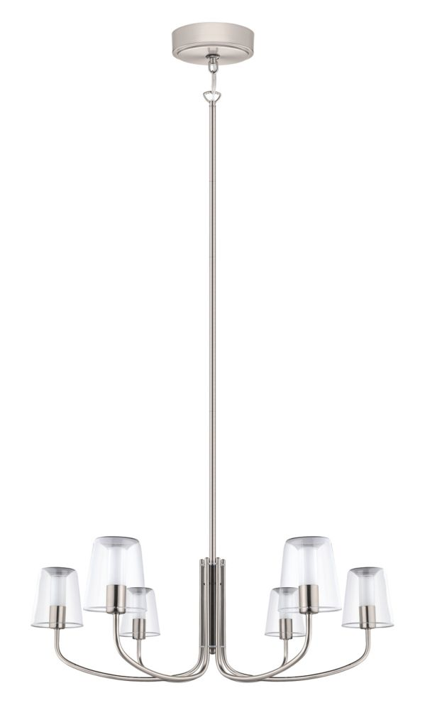 Eglo Noventa LED Chandelier Light 6L, Matte Nickel Finish With Clear & White Glass - ENERGY STAR®