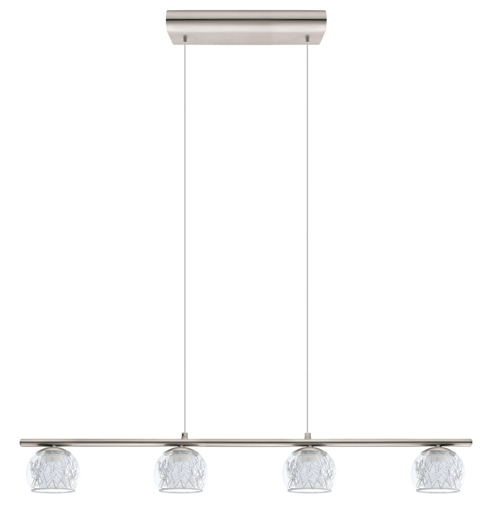 Eglo Altone 1 LED Pendant Light 4L, Matte Nickel Finish With Clear & Frosted Glass - ENERGY STAR®