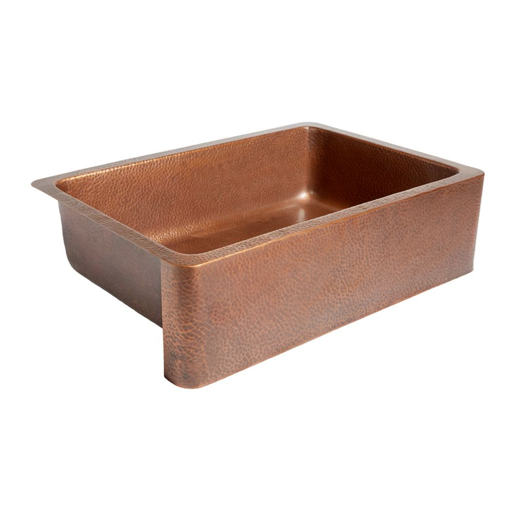 Adams Farmhouse Apron Front Handmade Solid Copper 33 in. Single Bowl Copper Sink in Antique Coppe...