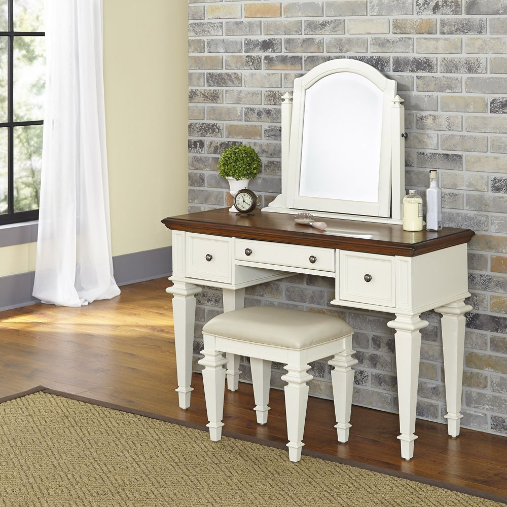 Americana 46-inch W Vanity in Antique White Finish with Bench