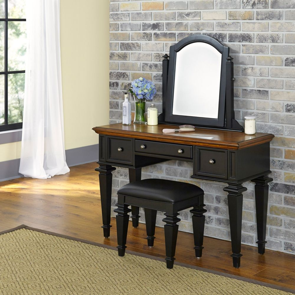 Americana 46-inch W Vanity in Antique Black Finish with Bench
