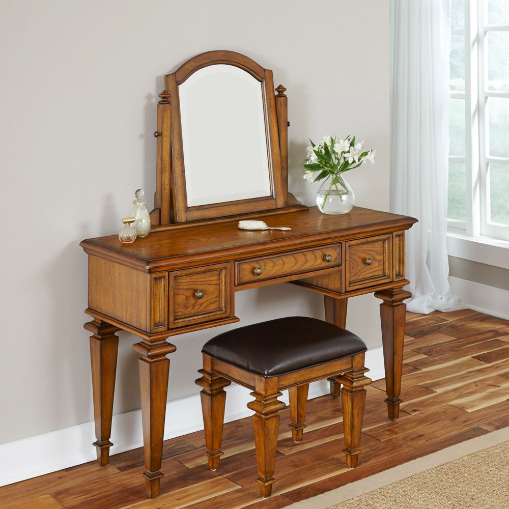 Americana 46-inch W Vanity in Distressed Oak Finish with Bench