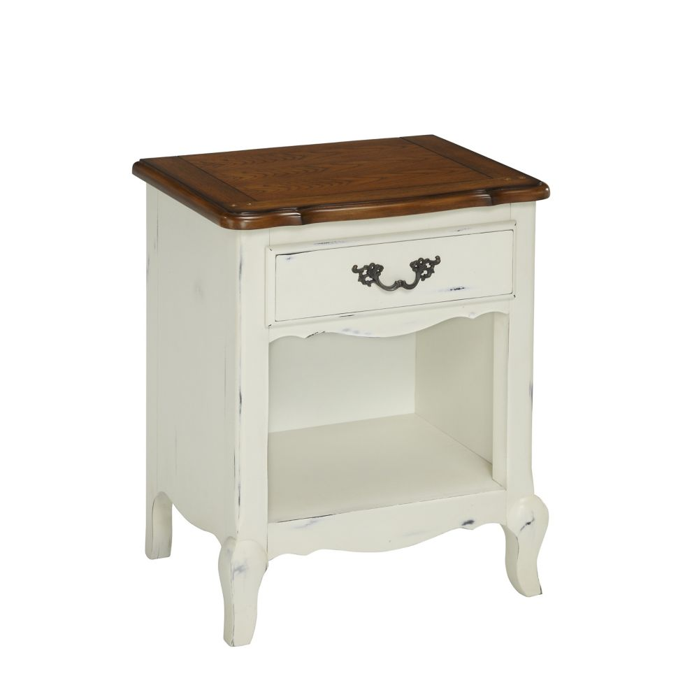 The French Countryside 23.75-inch x 28-inch x 18-inch 1-Drawer Nightstand in White