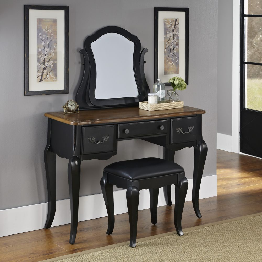 French Countryside Collection 44-inch W Vanity in Antique Black Finish with Bench