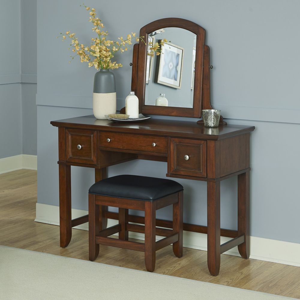 Chesapeake 46-inch W Vanity in Cherry Finish with Bench