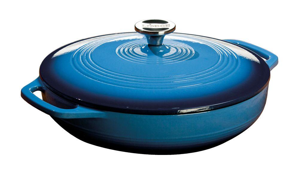 Lodge Colour Enamel Casserole Blue 3.6 Quart