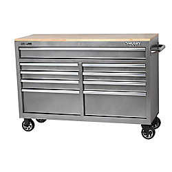 HUSKY 52-inch 9-Drawer Mobile Work Center in Metallic Silver