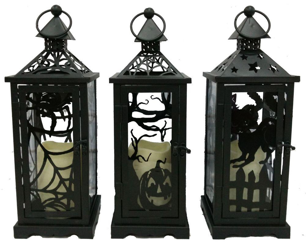 Black Metal Lantern w/LED Candle (Asst 3 Styles)