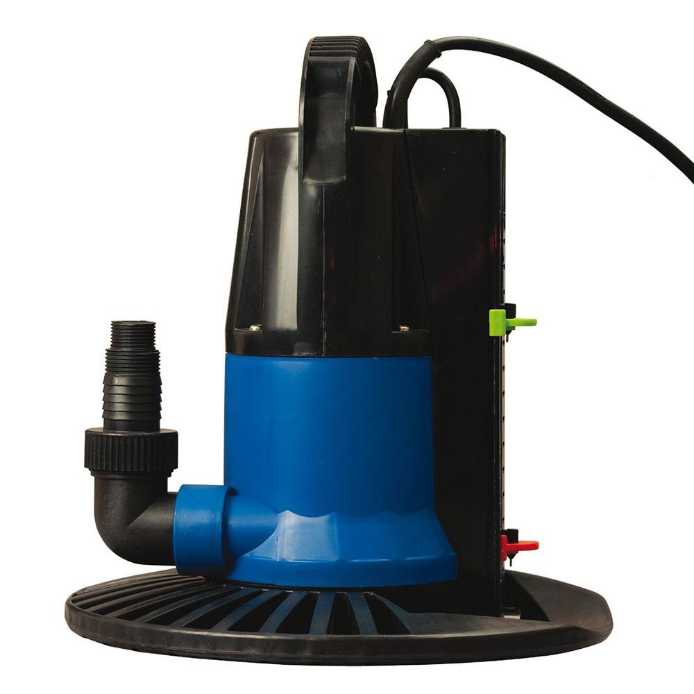 Pompe 4000 l/h avec interrupteur marche/arrêt et base pour couverture d'hivernage de piscine creu...