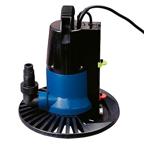 Pompe 9000 l/h avec interrupteur marche/arrêt et base pour couverture d'hivernage de piscine creusée