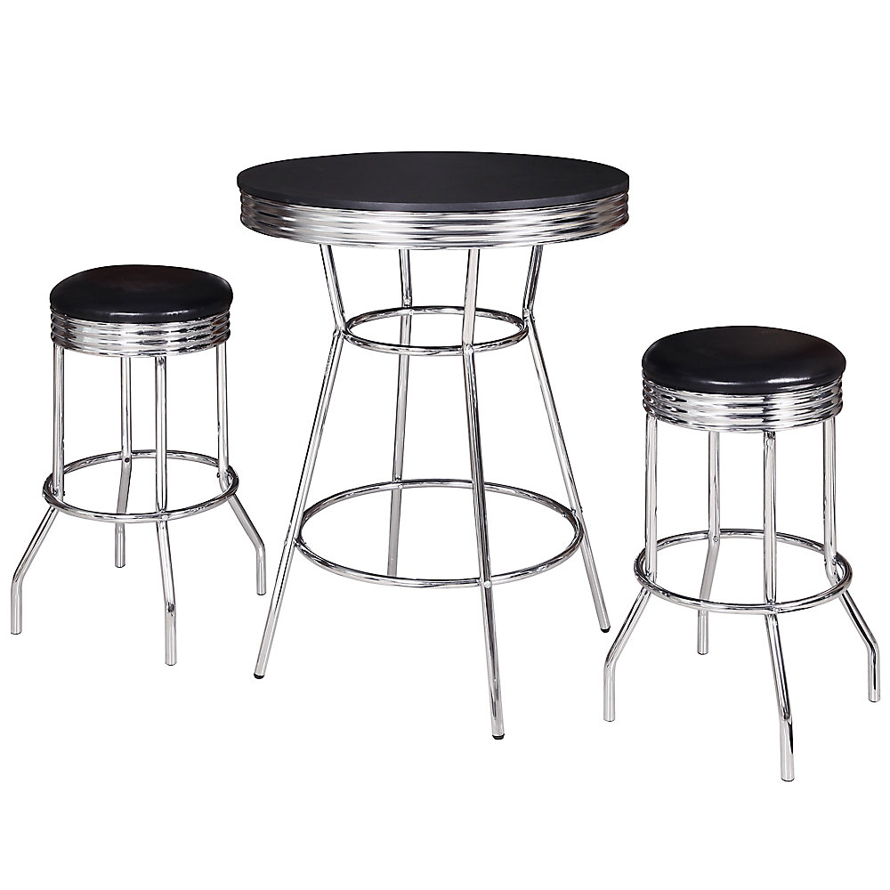Surprising Remington 3 Piece Pub Table Set Chrome And Black Interior Design Ideas Greaswefileorg