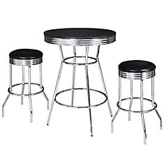 Remington 3-Piece Pub Table Set - Chrome and Black