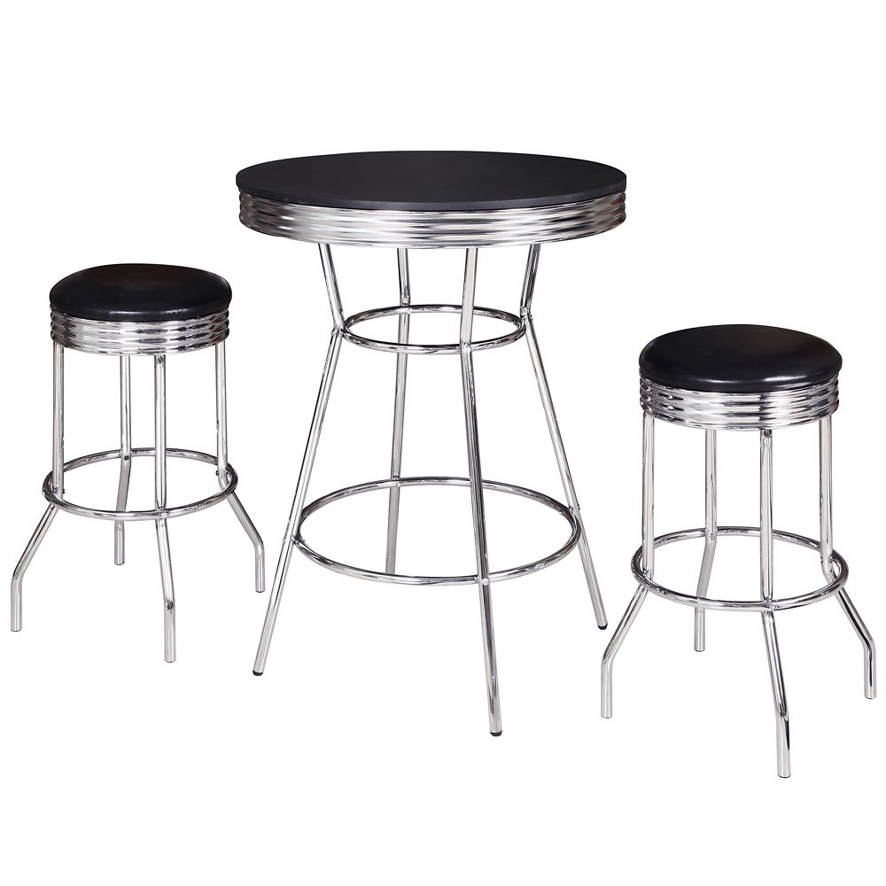 Hathaway Remington 3 Piece Pub Table Set - Chrome and Black
