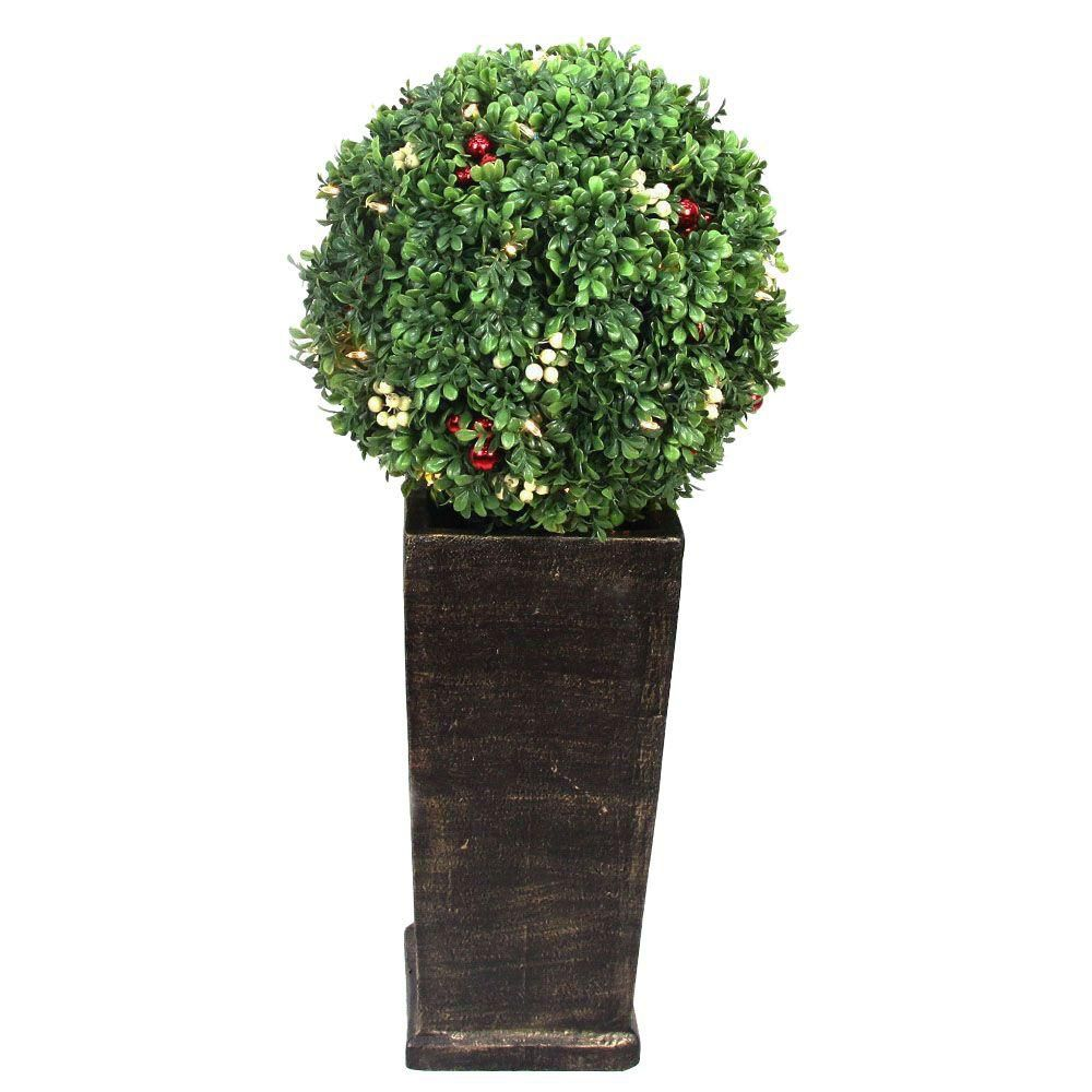 38 Inch Pre-Lit Decorated Boxwood Topiary LED