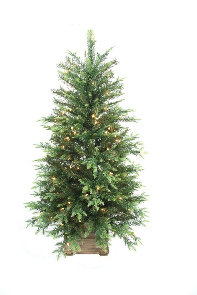 Home accent holiday 4 feet pre lit grand fir porch tree for Accent tree for corner of house