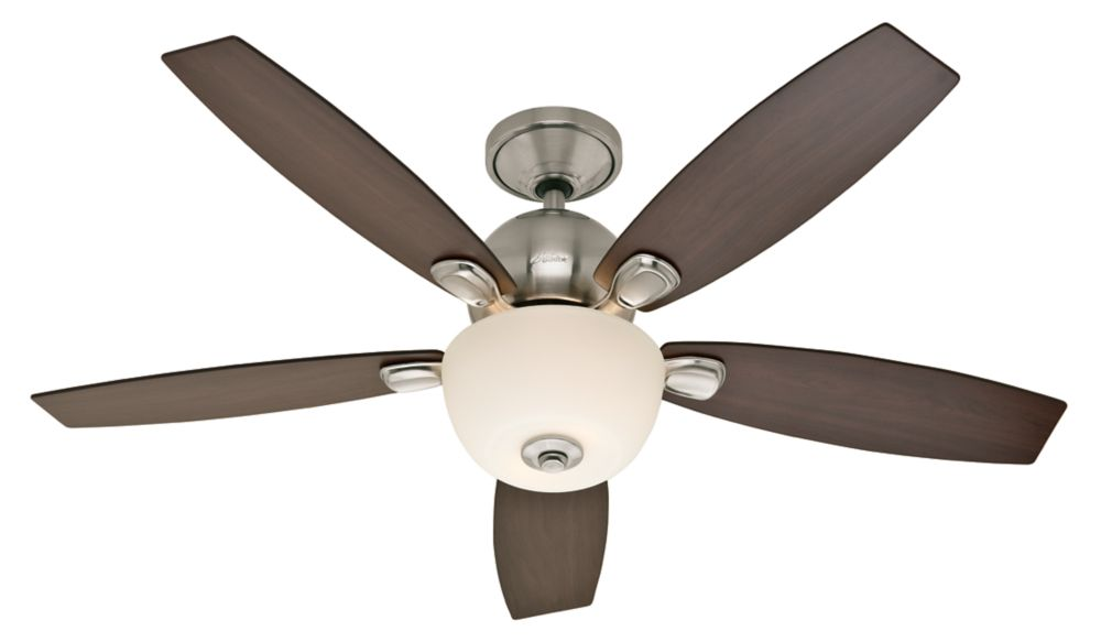 Silhouette ventilateur de plafond de 52 po en nickel brossé