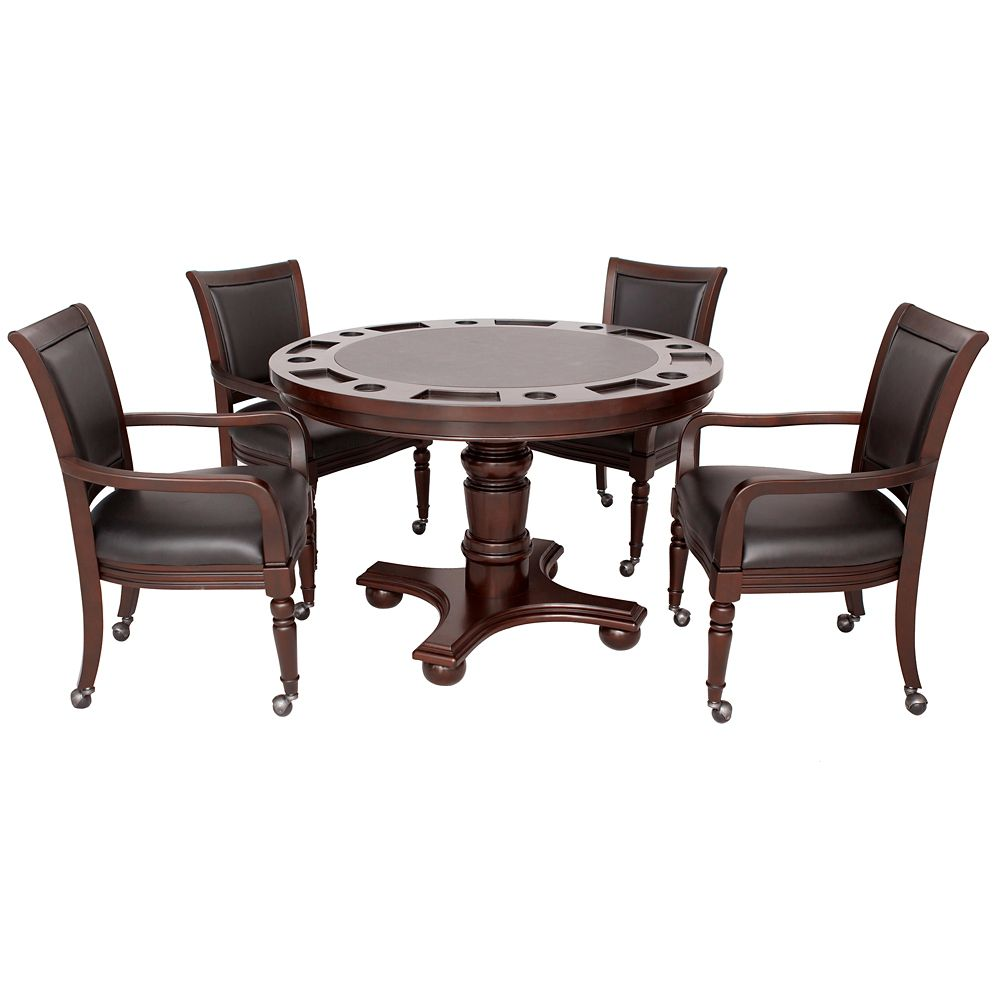 Hathaway Bridgeport 2-in-1 Poker Game Table Set in Walnut Finish